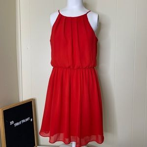 by & by Bright Red Sleeevless Midi Summer Dress S